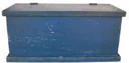 Y291  Late 19th century Document Box, with wonderful, original dry blue paint. Rectangular lap-constructed box with slightly overhanging molded lid; nailed construction with round nails,