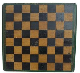 Y325 Original 19th century New England Game Board from Okeland Me. on the bottom of the game board is( Aldens-4) applied baton on the bottom to keep the boards from warping  applied molding, original greem amd mustard paint circa 1860