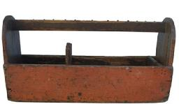 Y83 Late 19th century Tool Carrier/ Carpenter's Tote,wonderful worn weathered original salmon paint.nice high shaped half moon ends , A deep well outfitted with sections for various tools and hand saws