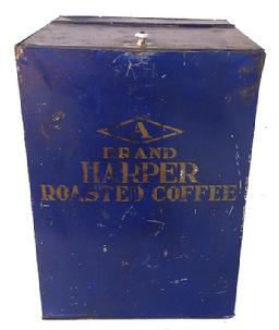 Z492 This is a large and colorful tin dispensing bin which would have been used in a country store setting to dispense Brand Harper Roasted Coffee Chicago, IL.