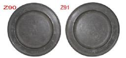 Z90-Z91 Early 19th century matching pewter plates, nice uncleaned patina on both.