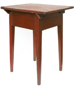 V114 Pennsylvania Country Hepplewhite Cherry Pin Top Work Stand with old red paint, circa. 1790-1810. Two board top with beveled support boards pinned and pegged construction,