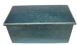 "Y66 19th century New England Storage Box with old blue paint, dovetailed case, one board construction, circa 1820-1840 Measurments are: 26 1/2"" wide x 13 1/"" deep x 12"" tall"