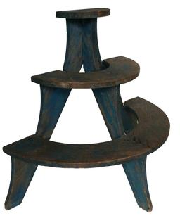 "A269 small, three tiered, wooden plant stand in wonderful dry blue paint, late 19th century, Pennslyvania , square head nail construction, all original Measurements are: 29 1/2"" tall x 32"" wide x 16"" deep"