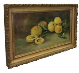 A329 19th century painting of Peaches painted on art board with the original beautiful frame, no repairs or touch ups cira 1870