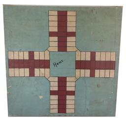 "A370  AMERICAN GAMEBOARD.   Made by Gus Wilson, South Portland, Maine, ca. 1920s, pine. Parcheesi board with original paint. Two boards with breadboard ends. 20""x 20"".  Bought  from Wilson's cousin. Wilson, a famous decoy maker, made this board for his own use when he was keeper of the Great Duck Light House,southeast of Bar Harbor, Maine."