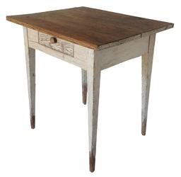 "A386 19th century Shenandoah Valley Virginia Hepplewhite work table , with the original white paint the table has a single dovetailed drawers, with a two board scrub top , fine tapered legs all original Measurements are:25"" deep x 30"" wide x 30"" tall"