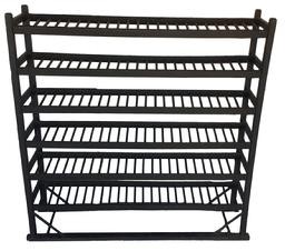 "A421 Country Store Shoe Rack Display in Original Gray Surface with Six Wooden Pegged Shelves. 52""h x 50 1/2""l x 13""d. Condition: Very good."