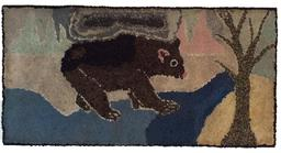 A466 Folky New England Bear wool hooked rug, late 19th c. to early 20th c. professionally mounted for display.