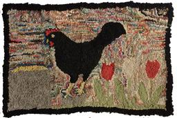 A472 Early  hand hooked rug of a chickens and Tulips on a mulity colored back ground, black boarder, sewn on burlap,This amazing folky rug was found on Eastern Shore Maryland, as found condition