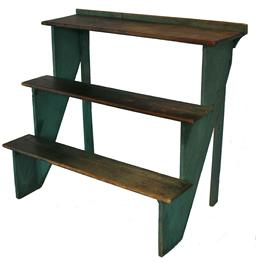 B110 19th century green painted Plant Stand , with the original green paint softwood, cut-nail construction having three tiered shelves and retaining the original painted surface, circa 1860  42 1/2�x 25 1/2�x 38 1/4�;