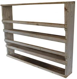 "B124 19th century Pewter rack with oyster white  paint, dovetailed case featuring shaped front profiles having three  shelves, each with plate rails, both on shelf and set within stiles for forward leaning of dishes Measurements are: 43 1/2"" wide x 33 1/2"" tall x 9"" deep"
