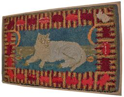 B196 Fabulous Late 19th C Hooked Rug , Folk Art Americana Cat hooked Rug  it is made of wool/gabardine strips hooked on burlap The border is bold and almost abstract,  Tabby, herself, is wonderfully executed in both color and style. The rug she sits on, quite wonderful as well. 40� wide x 25� tall
