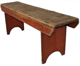 "B255 Pennsylvania 19th Century double Mortised  Bench with Original dry red  Red Paint, this Bench has wonderful wear, and the legs are mortised through the top with a half moon cut out, circa 1820 - 1840 17-1/4""high . x 48"" long x 11-1/4""deep."
