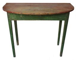 "B28 19th century  Shenandoha Valley Virginia  ,Hepplewhite  Demilune Table with old green paint  over the original red, the wood is heart pine ( yellow pine) mortised and pegged construction  circa 1840,    Measurements are:37 1/2"" wide 20"" deep x 28 1/4"""