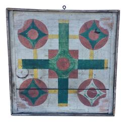 B4319th century American ,two sided beautiful Painted Parcheesi Board,and check board .  Painted in a variety of  colors,  green, red yellow , on a white back ground . With bread board ends and applied molding, Original dry surface,  found in Pennsylvania