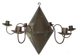 B467  19th century New England,Hanging tin Chandelier, with six  curved arm extensions and six tin  crimped candle bobeches that are form,  six  single deep welled wide candle sockets, hook for hanging beautiful old patina surface all original