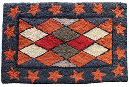 B581 late 19h century Hooked Rug a diamond century with red stars boarder, on a blue background, hook on burlop very good condition
