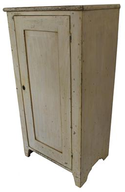 "C201 19th century Berk's County one door storage cupboard, single panel door, in the original buttery paint, naturial patina inside all square head nail construction. circa 1850 Measurements are 23"" wide x 45"" tall x 16"" deep"