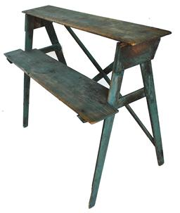 "C31 Maryland Plant Stand with the original dry blue paint, the wood is yellow pine, it is very sturdy, great for displaying stoneware, or Decoys. wire Nailed construction circa 1890's measurements are: 42 1/4' lone 21 3/4"" deep x 33 1/2"" tall"