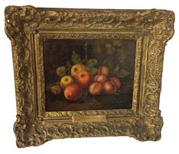 "C372 Mid 19th century oil  painting on canvas still life of fruit, in original frame, no restoration, brass plate with artist name Henri De Haag  17 1/4"" tall x 19 1/4"" wide"