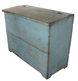 C515 19th century pine Storage Bin, with original dry robin egg blue paint, with cut out foot, applied molded edge on lid. Two wide board back circa 1840