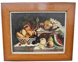 "C70  19th century oil on canvas still life of wine and fruit original frame 28"" tall x 34"" wide"
