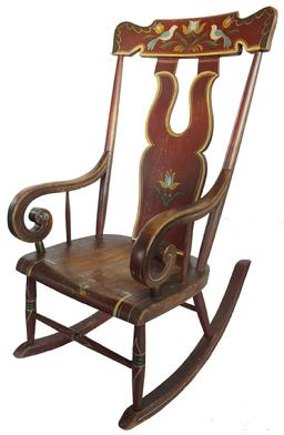 "CM1 Large well made 19th century Pennsylvania original red paint decorated plank seat Rocking Chair boot-jack design back with painted Tuilups and Birds on head rest. Measurements are: seat to the floor 16"" - Back of Chair 42"" tall"