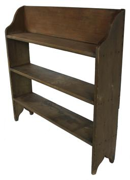 "D118  19th century Pennslyvania Bucket Bench , small size, with the original olive green paint, with shape sides with a cut out foot, square head nail construction,. 37""h. x 36""w. x 7-1/2""d."