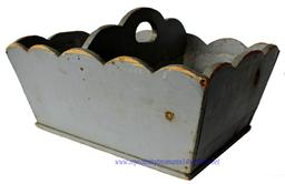 D130 19th century Wood utility carrier with original pewter gray paint. circa 1870  scalloped sides, and a middle divider , high arched cut out handle nail construction, with wire nails