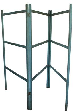 "D180 19th century Painted Folding Quilt Rack,  or Herb drying rack ,American, second half 19th century, mortise-and-tenon construction with original blue paint. . Measurements are 62"" tall x 36"" wide when it is folded and  108 "" open"