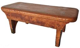 "D213 Late 18th  century Lancaster Pennslyvania pumpkin paint decorated mortised  foot Stool, double mortised the side aprons are dovetailed ,stamped P.W.S.on bottom by maker,  with nicely cut out ends. 18"" long x 8"" wide 7"" tall"