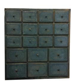 A331 19th century New England  paint decorated 18 drawer Apothecary, with the original dry blue  paint,decorated with a thin blue pin strip on each drawer, dovetailed drawers ,  Circa 1820 ,measurements are:10� deep x 28 1/2� wide x 30 3/4� tall