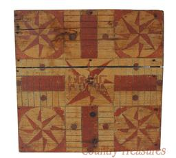 RM734 Wonderful Folk-Art Paint-decorated Parcheesi Game Board,  late 19th century, original bittersweet red paint with incised lines with Mariners Compass in corners.