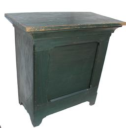 "X875 19th century Virginia small store Counter, in old green paint over the original red, with one single panel in the front, one board top. It has a nice cove molding, all square nail construction. Measurements are: 18"" deep x 34"" wide x 35"" tall"