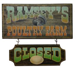 "Y70 20th century advertising sign for  a Poultry Farm in New Jersey, with "" open"" amd ""cose"" sign, with a great painting of a Turkey"
