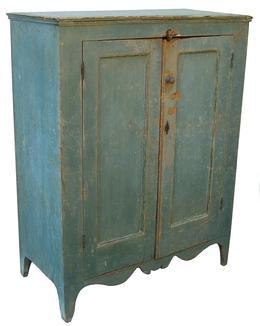 Y213 Early 19th century New England Country Hepplewhite Storage Cupboard , found in New York State, in original blue paint, with, two panel doors,applied molding around each of the panels, nice deep chamfered panel on the inside, nice high cut out foot, with a outstanding apron, fully mortised and pegged door frame. circa 1800 - 1820