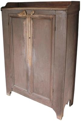 "WL7  Late 19th century Storage Cupboard, from Broadway Va. Rockingham County , In the Shenandoah Valley. Applied gallery and nice molding around end and  doors, very unusual color, Mulberry . 41"" wide x 17 1/2"" deep x 61"" tall"