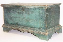 Q585 Eastern Shore Maryland Miniature Blanket Chest, with the original dry blue/green paint surface, applied bracket base, fine dovetailed construction (feet and case), the interior till has a small nailed drawer below, . It is painted on all four sides, .