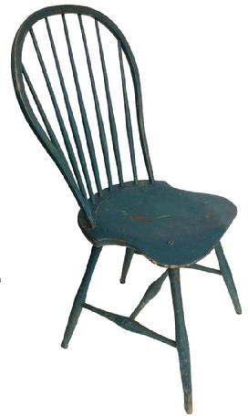 A489 Early 19th century Philadelphia Penn. Windsor 7 spindle hoop back side chair shaped seat high H stretcher, old blue paint,