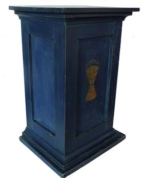 This fantastic original blue painted  podium with a dovetailed drawer is from an Odd Fellows lodge, the podium boasts the more recognizable symbol of the famed fraternal order: the three chain links, which stand for friendship, love and truth. In addition to the great symbolism,