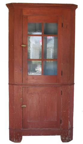 "C211 19th century Pennslyvania six pane Corner Cupboard, with the original red paint, with old blue gray interior. High cut out base, with a waist molding. the wood is all white pine, circa 1840   83"" high 39"" wide"