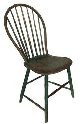 A301 Beautifully Pennslyvania signed  Bow Back Windsor, chair.19th century seven spindle back bamboo turning Windsor Chair , in early apple green over the original green, the spindles and bow are made out of hickroy with a poplar seat, signed under seat C. lewis circa 1800