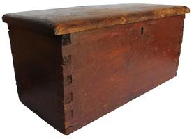 "RM725 Early 19th century Maryland  ( 1790- 1810)  miniature Blanket Chest , with original dry red paint, it still has it's original fish tail strap hinges, one board construction with beautiful dovetailing, Measurements are: 21 1/4"" wide x 9"" deep x 10"" tall"