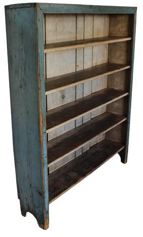 C43 Early 19th century Berks County  Pennsylvania Pantry Cupboard with the original robin egg  blue  exterior with the original oyster white interior dovetailed case, with plate rail, nice beaded edge, Nice cut out foot all original circa 1800 -1820