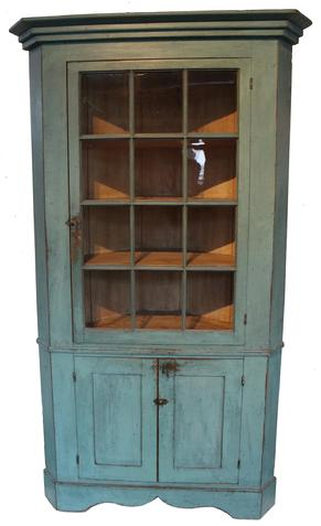 "C526 19th century Pennsylvania original blue twelve window lit Corner Cupboard. Applied step molding to the top, with a center waist molding, applied high double drop apron  to the base, with a thin white wash to the interior with plate grove, all original hardware, this Cupboard is 100%  original,  from a private collection 28"" corner  and it is 82 1/2"" tall"