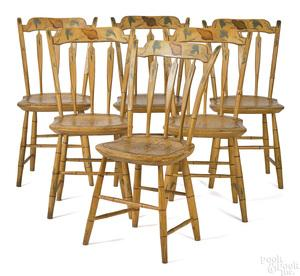 D37 Set of six New England painted arrowback windsor Chairs, with the original paint, yellow ochre with shells in Crest- from the Tylor Homestead in Bolton Mass. Sold at Skinnes Americana Auction in 1981. This set of Chairs circa 1810-1820