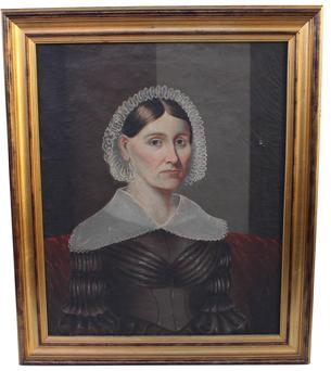 C588  19TH CENTURY PORTRAIT OF A LADY IN QUAKER DRESS seated half length in an interior, oil on canvas,  unrestored from Buck County Pennslyvania, Painted on canvas
