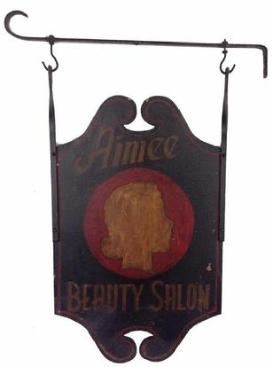 A15 Early 20th century Trade Sign two sided with iron bracket, Aimee Beauty Salon, black background with red and mustard