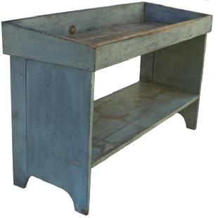 Y69 19th century Pennsylvania,Drysink Bucket Bench in old pewter gray paint, with a dovetailed well, the bottom shelf is triple mortised into the end boards, circa 1820 - 1840
